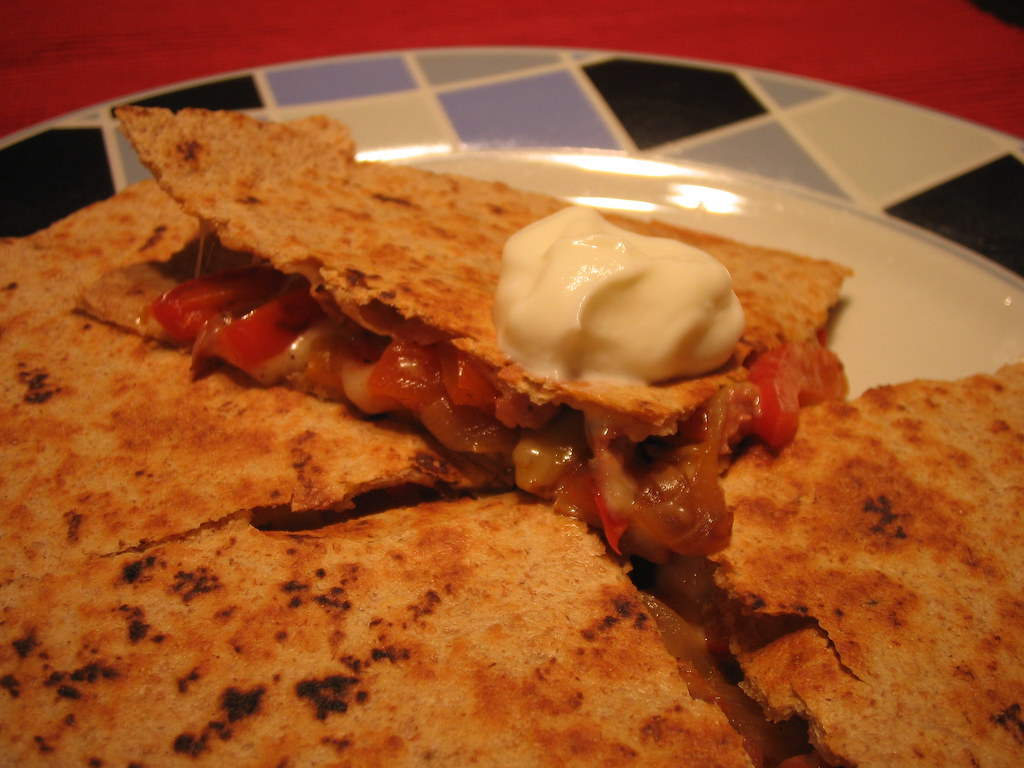 the practical gourmet: sausage and pepper quesadillas