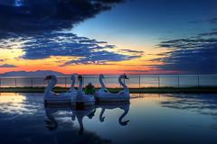 Swan boats and Sunset at Ayr (i.rashid007) Tags: uk sunset landscape scotland bravo ayr ayrshire craigtara