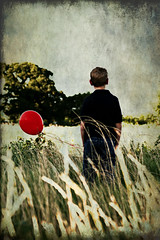 Red Balloon (mjmatt) Tags: boy texture field wind balloon thoughtful goodbye