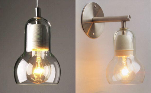 Lamp lust. | Door Sixteen:Speaking of glass light fixtures, I can't stop thinking about Sofie Refer's  Bulb Wall Sconce and Bulb Pendant Lamp. Maybe in the downstairs bathroom  (when ...,Lighting