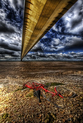 What Happened Here? (Esther Seijmonsbergen) Tags: uk bridge england seascape abandoned water bike river vanishingpoint mosaic yorkshire shoreline estuary hdr waterside humberbridge humber pushbike abigfave colorphotoaward greatmanipulart hdraward estherseijmonsbergen wwwdigitalexposurephotographycom wwwdigitalhdrcom