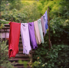 more public airing of dirty laundry (chirgy) Tags: london 120 mediumformat colours fuji scan line laundry backgarden analogue expired washing walthamstow 00280 nps160 bokehagogo bokehwhores salyuts kaleinar150mm