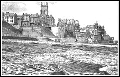 CROMER FROM THE SEA (Norfolkboy1) Tags: england pen ink norfolk northsea hightide stipple cromer rapidograph originaldrawing oneof42 panthonybromage