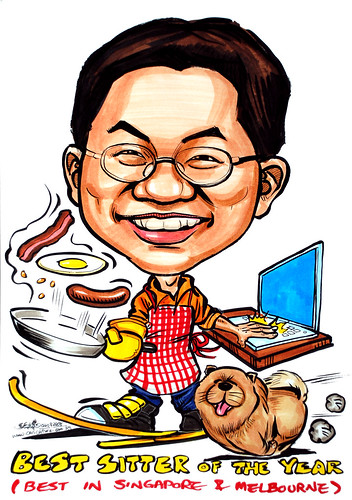 Caricature of a multi-tasker