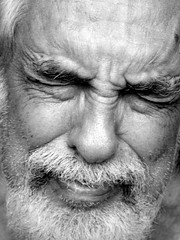 Pain (Andria Solha) Tags: old portrait blackandwhite bw white man black sadness pain hands emotion oldman panic latin brazilian aged anguish solha andriasolha acsolha
