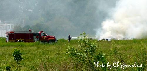 Firetruck & firefighter, Putting out the fire