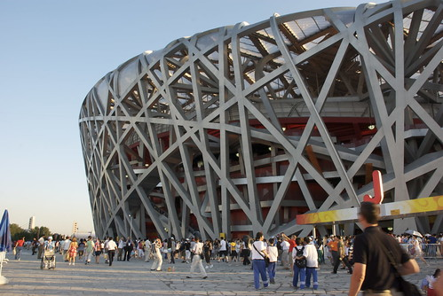 The Birds Nest is absolutely massive. We found out, the reason we have been experienced no traffic is that it hadnt yet opened. Once 90,000 people could get into a new venue, Beijings streets started to clog.