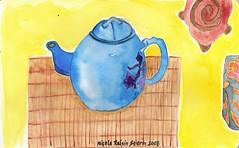 teapot no. 38 (238) ~ cobalt teapot with turtle (Neshamah Spirit Art) Tags: watercolor tea turtle teapot 100teapots nicoleraisinstern tortugadeldesierto third100