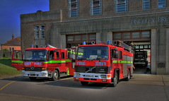 Finchley Fire Engines (2E0MCA) Tags: red england london canon volvo mercedesbenz fireengine firestation hdr finchley firebrigade a620 atego photomatix hdrsinglejpeg
