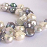 Glowing freshwater pearls in shades of white and grey