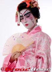 Kabuki inspired Geisha (Dreadheadphoto) Tags: 20d studio photo jane head kabuki wig kimono dread handfan dreadhead modelmayhem dreadheadphoto geishashoot wendymua photobyakinabayomi