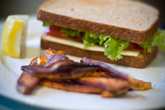Vegetable Sandwich and Sweet Potato fries