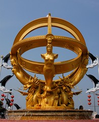 Zhuhai - Celestial Globe (cnmark) Tags: china park blue sky signs sign geotagged island golden globe chinese sphere guangdong zodiac  simple zhuhai spherical celestial astrolabe armillary   allrightsreserved yeli geo:lat=22280201 mingting    geo:lon=113581569