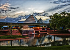 Disney's EPCOT (hz536n/George Thomas) Tags: blue sky orange green spring epcot florida disney wdw 2008 smrgsbord cs3 canon30d kartpostal p1f1 topazadjust