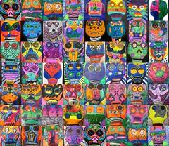 Dia De Los Muertos (artsy_T) Tags: color dayofthedead skulls bright 5thgrade symmetry marker diadelosmuertos elementaryart