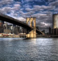 Brooklyn Bridge (ajagendorf25) Tags: new york city nyc newyorkcity bridge blue sky water brooklyn clouds skyscraper canon buildings river manhattan fluffy brooklynbridge hudson s3 hdr