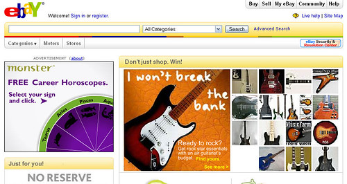 Ads on the eBay homepage