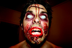 zombified (Bourgeois Bogan) Tags: selfportrait halloween scary blood zombie attack makeup freaky undead gory zombified halloween2008 bloggedhalloween