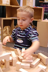"""The """"Healthy Kid"""" at Ukoonto Booth. (Hans and Carolyn) Tags: wood playing toronto building tower children toy toys wooden maple healthy child safe buildingblocks madeincanada woodenblocks droz healthykidsexpo"""
