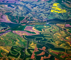 Palouse Patchwork (JLMphoto) Tags: colors airplane landscape washington bravo farm patterns aerial farmland idaho explore fields patchwork fromtheair palouse blueribbonwinner supershot golddragon mywinners colorphotoaward impressedbeauty absolutelystunningscapes jlmphoto damniwishidtakenthat whydonttheyevercleantheairplanewindows