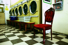 launderette (mike H 001) Tags: london chair basket washingmachine laundromat southlondon launderette laundrette effra hernehill emptychair railtonroad canoneos40d effrafcrailtonroadproject