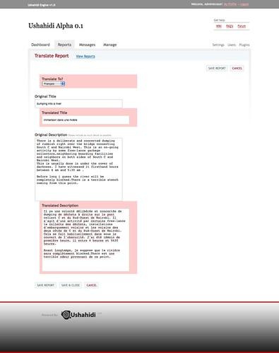 Translation page in Ushahidi