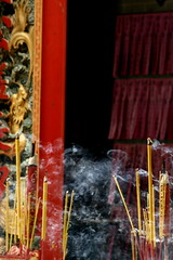 wafting (Farl) Tags: travel colors temple pagoda chinatown buddhist smoke buddhism vietnam saigon incense sandalwood hochiminh tinhau cholon thienhau