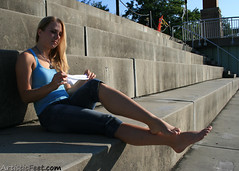 Lacy 1 (ArtisticFeet.com) Tags: sock legs arches jeans barefoot barefeet instep