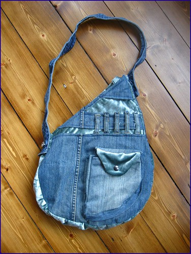 reconstructed denim bag