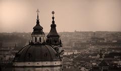 Cross-legged (Kh4nzo) Tags: travel roof orange black nikon europa europe angle time wide praha praga palace czechoslovakia seppia d490 200mm