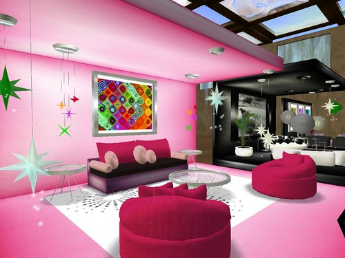 Pink  Retro Living Room Set and Star Lamps