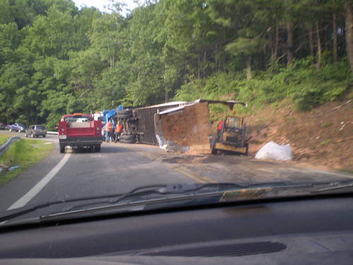 Wrecked truck in the mountain