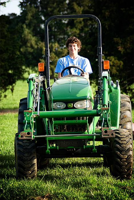 caelan on tractor