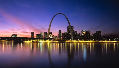St Louis skyline at night.