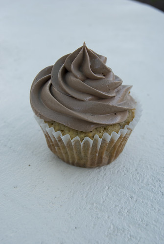 Hazelnut cupcakes with nutella swiss meringue frosting