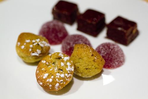 pistachio cakes, strawberry lychee, chocolate