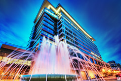 MWV Energy (Sky Noir) Tags: city travel blue usa building art fountain glass skyline architecture modern night photography virginia colorful cityscape headquarters richmond illuminated va bluehour hq hdr meadwestvaco artography mwv skynoir bybilldickinsonskynoircom