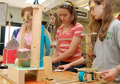 Students work in a technology education class at King Middle School in Portland, Maine.