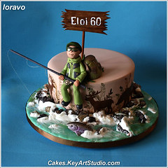 Fishing and Hunting Cake (Cakes.KeyArtStudio.com) Tags: bear fish water animals cake forest river fishing fisherman montreal hunting rapids deer foam backpack trout moos riverrocks knapsack fondant fishingrod fondantcake designercakes larissavolnitskaia keyartstudiocakes