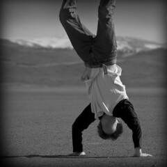 ten (of 365) (face~less) Tags: portrait bw white black face self handstand 365 less
