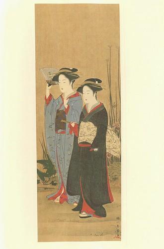 Dos damas paseando -artista Shunshô Katsukawa