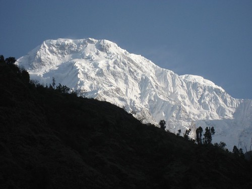 Sunrise over Annapurna South (seen from Jhinu danda)