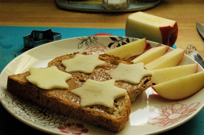 open faced apple-star-and-almond-butter sandwich