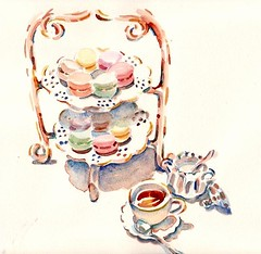 French high tea Jun 09 (Paris Breakfast) Tags: watercolor teatime parisbreakfasts