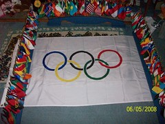 United Nations miniature flag set with full size Olympic flag