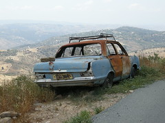 Abandoned Car, Troodos Mountains, Cyprus (ynysforgan_jack) Tags: pictures trip vacation holiday cars abandoned car photo nikon rust automobile holidays image photos decay picture cyprus images coolpix vehicle rusting 2008 vacations decayed decaying zypern p5100