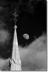 Lunar Cross (Black & White) (bbusschots) Tags: ireland moon church blackwhite cross spire maynooth channelmixer thebestofday gnneniyisi kidlare