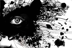 (AnieBethRyn) Tags: white black eye floral danger paint mask surreal hide reality masked seeking splatter