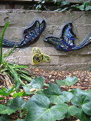 Bee and Butterflies (Kim Larson Art) Tags: california glass butterfly oakland mural san francisco artist mosaic bee gardenmosaic