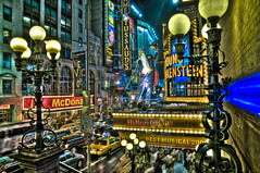 frank (mudpig) Tags: street newyorkcity newyork color colour bus lamp night geotagged nikon applebees neon nocturnal bright streetlamp manhattan taxi broadway hilton mcdonalds midtown musical frankenstein timessquare hdr 42nd tussauds timessq d300 crossroadsoftheworld youngfrankenstein mudpig stevekelley